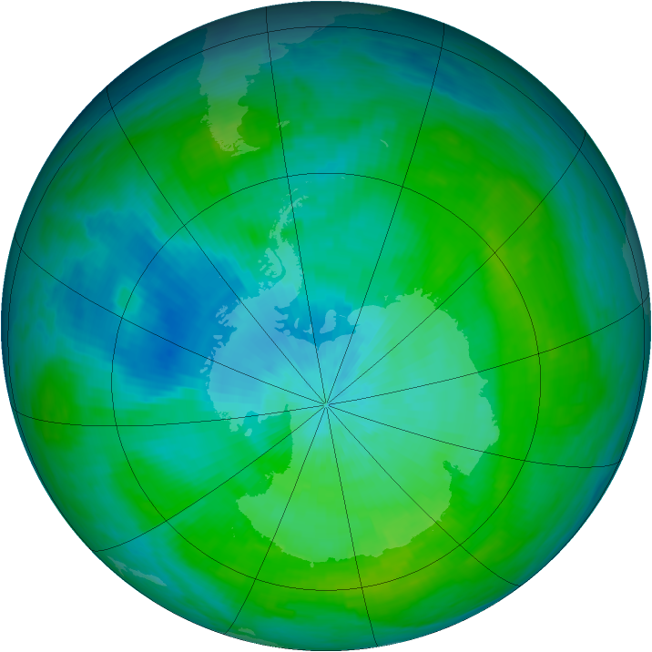 Antarctic ozone map for 23 February 1983