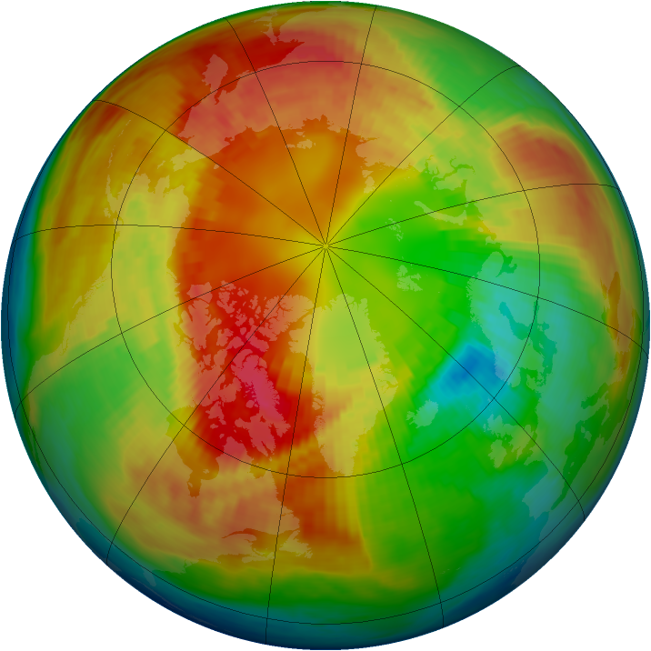 Arctic ozone map for 24 February 1983