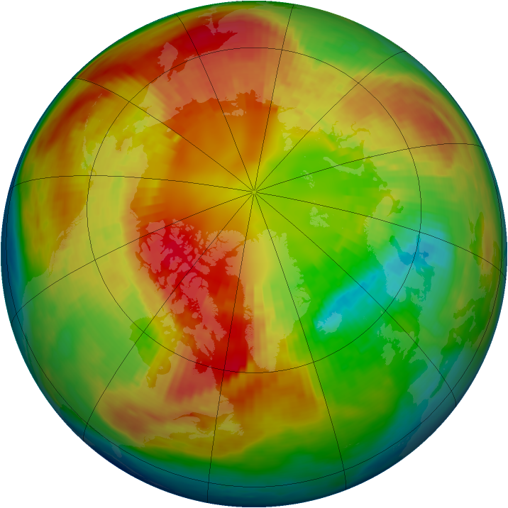 Arctic ozone map for 25 February 1983