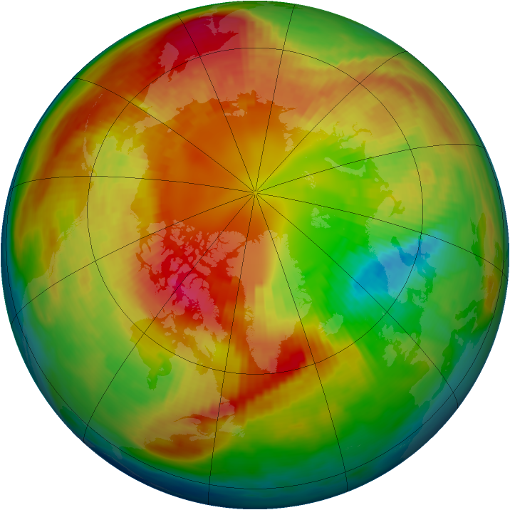 Arctic ozone map for 26 February 1983