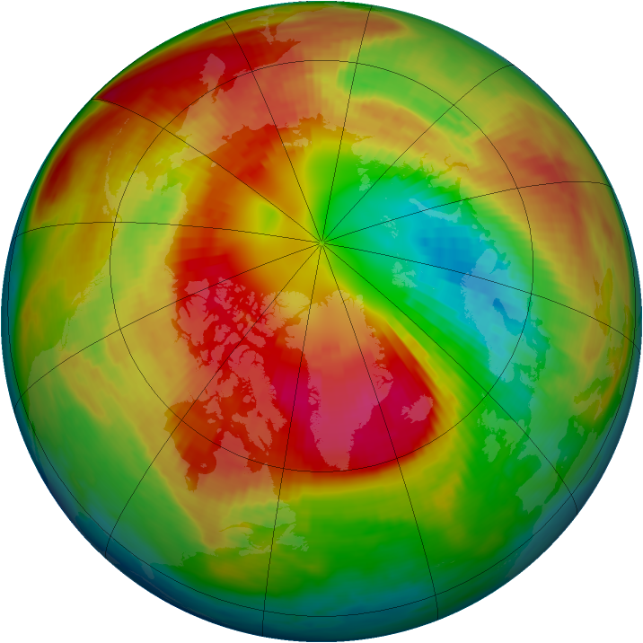 Arctic ozone map for 03 March 1983