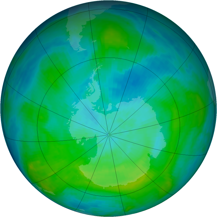 Antarctic ozone map for 03 March 1983