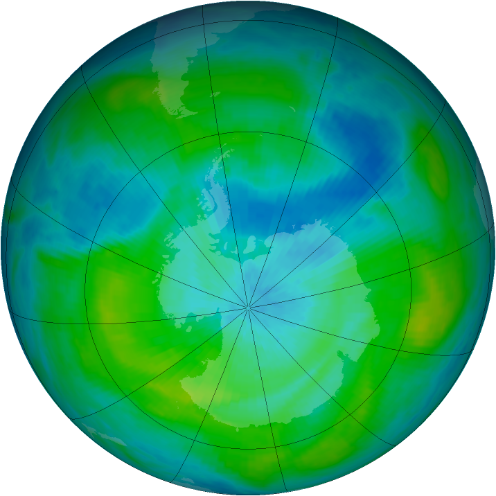 Antarctic ozone map for 06 March 1983