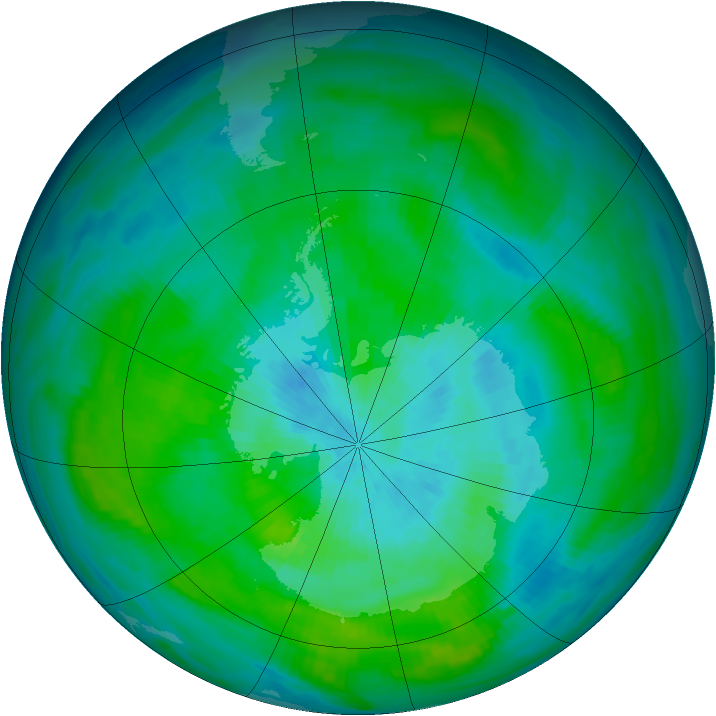 Antarctic ozone map for 11 March 1983