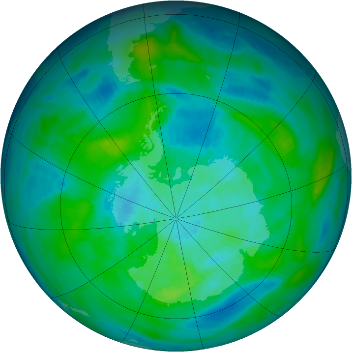 Antarctic ozone map for 18 March 1983
