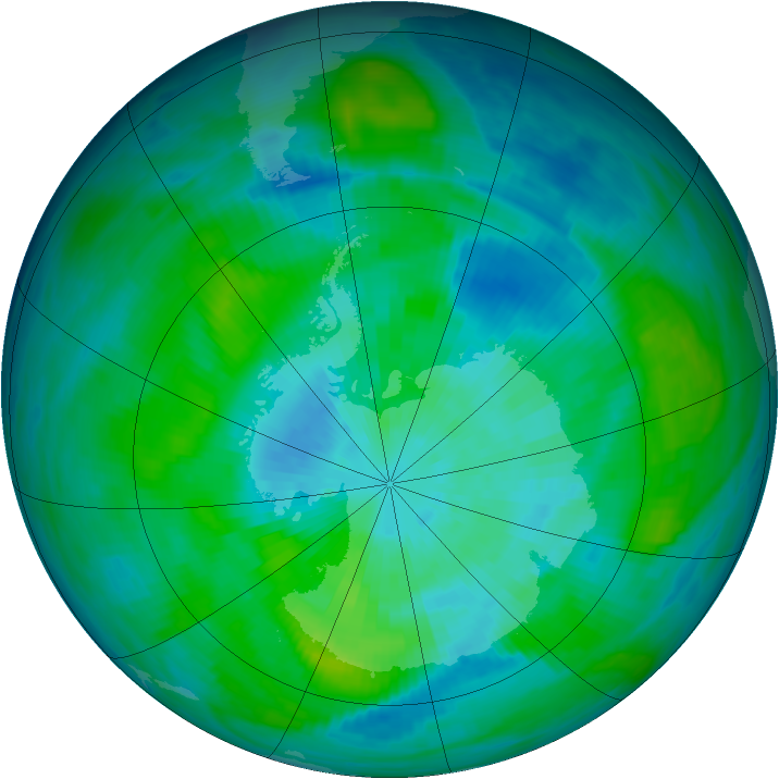 Antarctic ozone map for 19 March 1983
