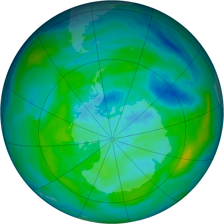 Antarctic ozone map for 22 March 1983
