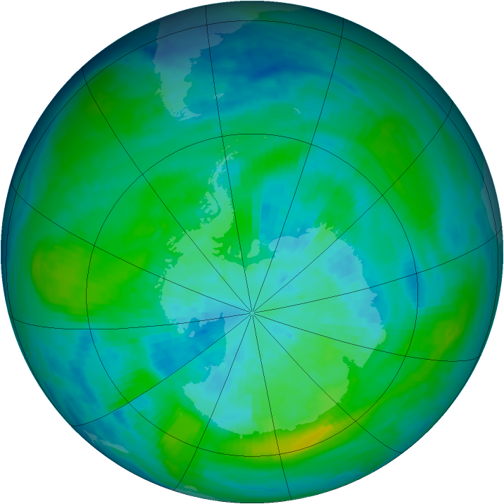 Antarctic ozone map for 24 March 1983