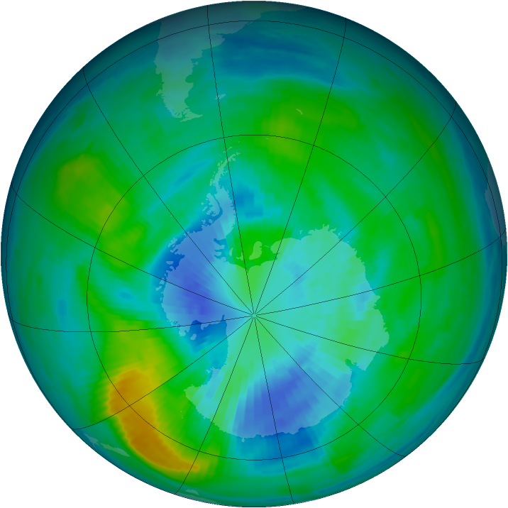 Antarctic ozone map for 27 March 1983