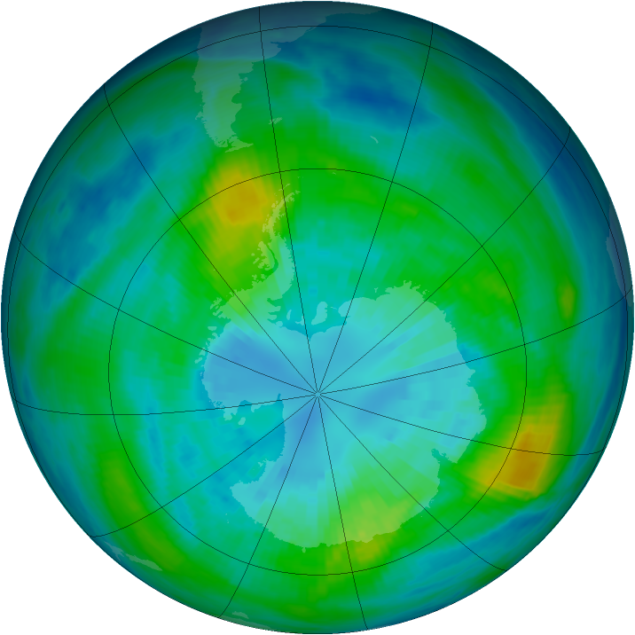 Antarctic ozone map for 03 April 1983