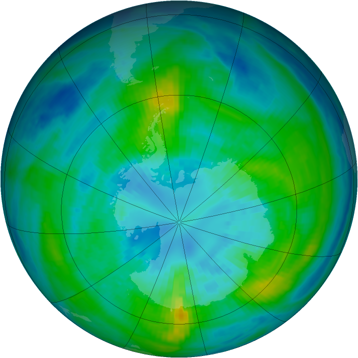 Antarctic ozone map for 04 April 1983