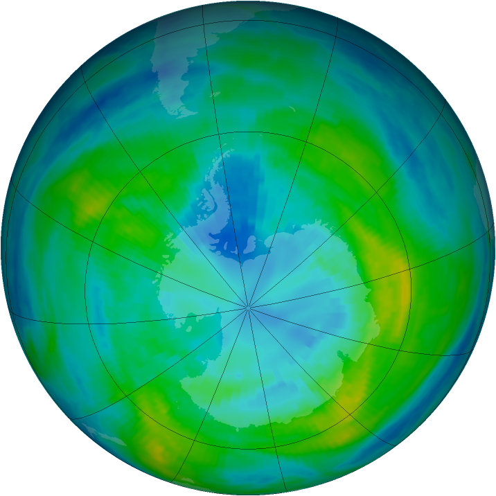 Antarctic ozone map for 07 April 1983