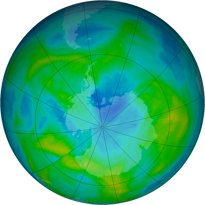 Antarctic ozone map for 09 April 1983