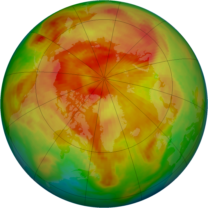 Arctic ozone map for 10 April 1983