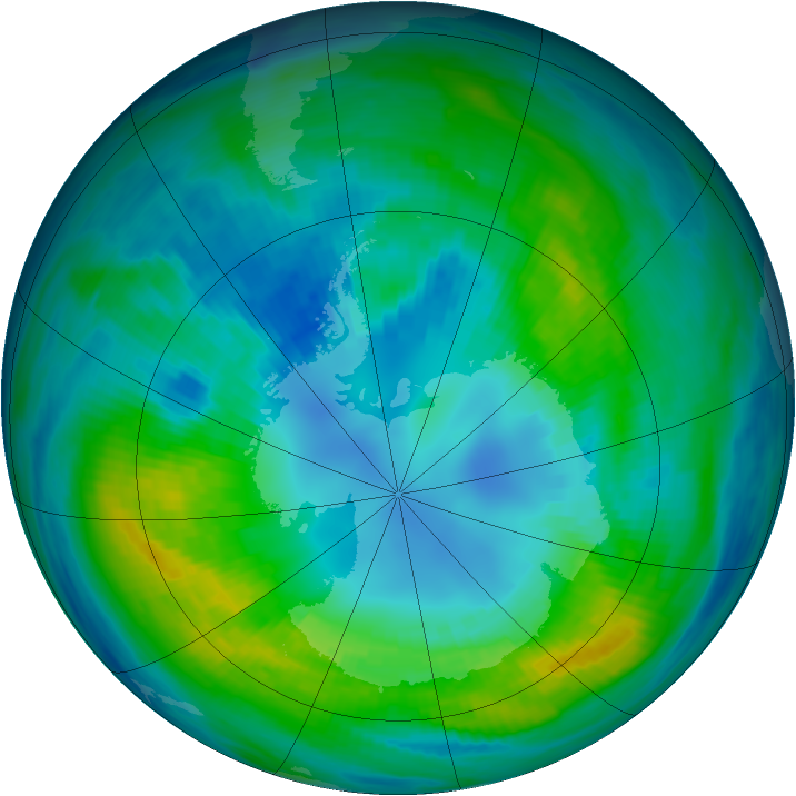 Antarctic ozone map for 16 April 1983