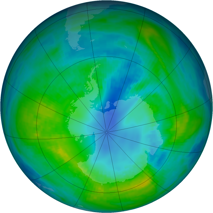 Antarctic ozone map for 19 April 1983