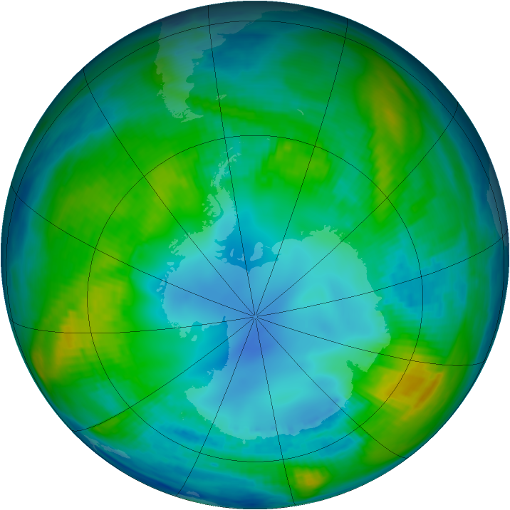 Antarctic ozone map for 03 May 1983