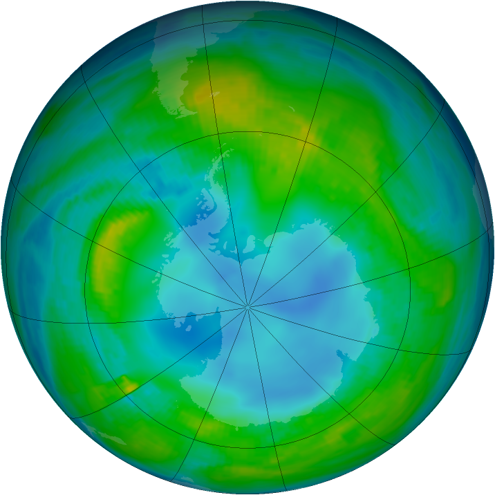 Antarctic ozone map for 07 May 1983
