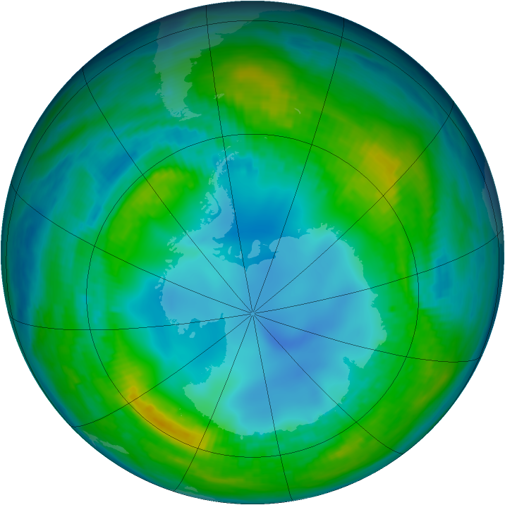 Antarctic ozone map for 08 May 1983