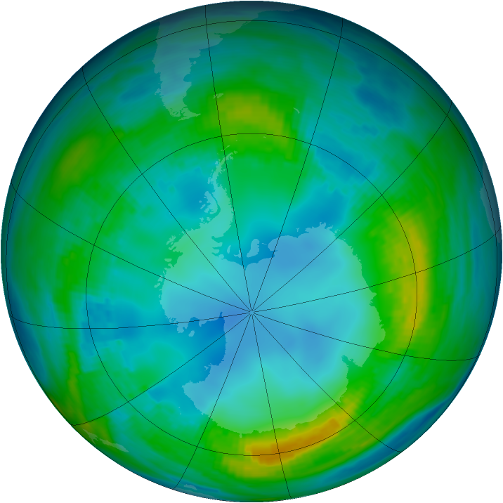 Antarctic ozone map for 13 May 1983
