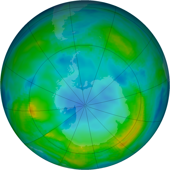 Antarctic ozone map for 15 May 1983