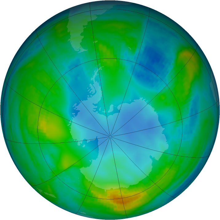 Antarctic ozone map for 18 May 1983