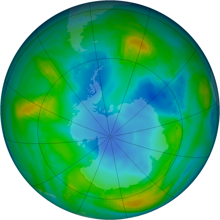 Antarctic ozone map for 20 May 1983