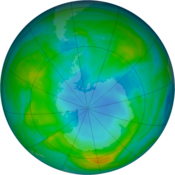 Antarctic ozone map for 22 May 1983