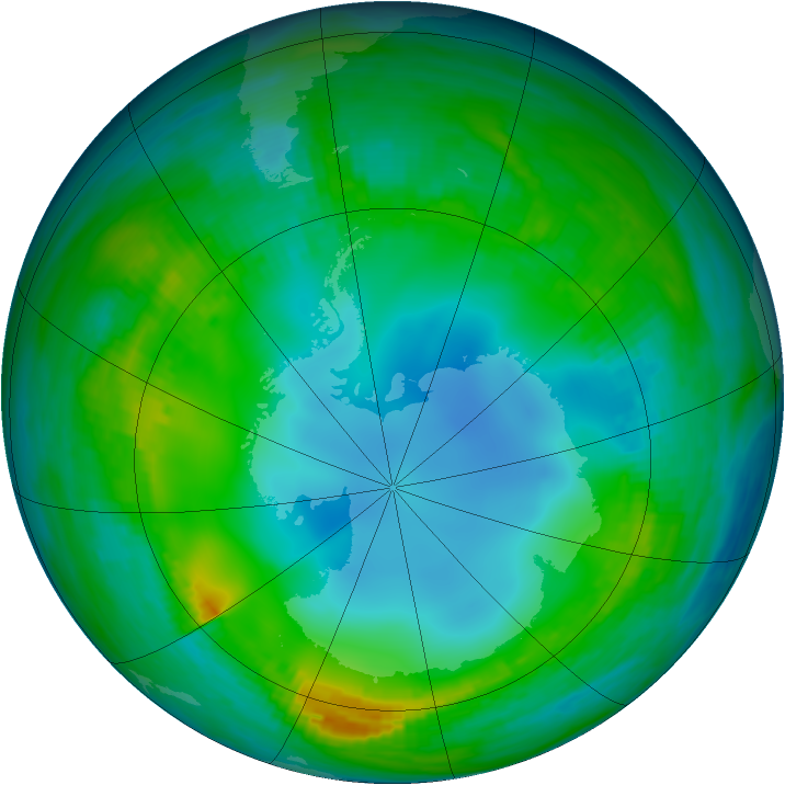 Antarctic ozone map for 23 May 1983
