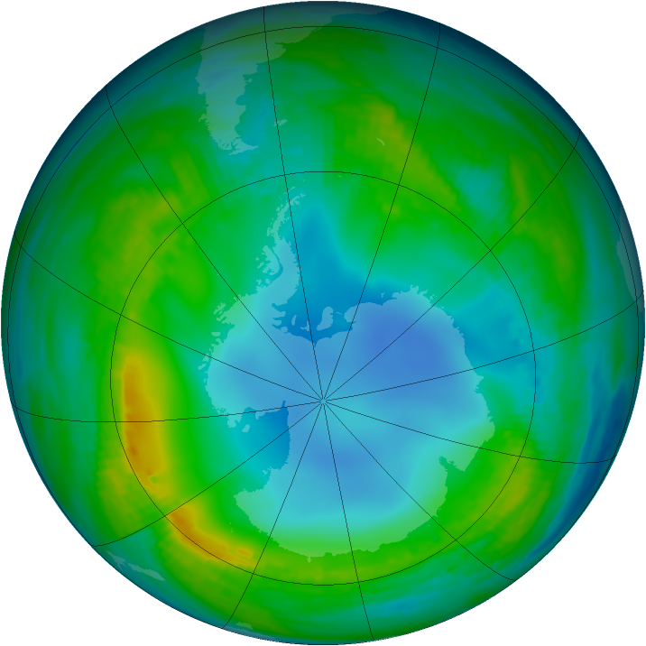 Antarctic ozone map for 24 May 1983