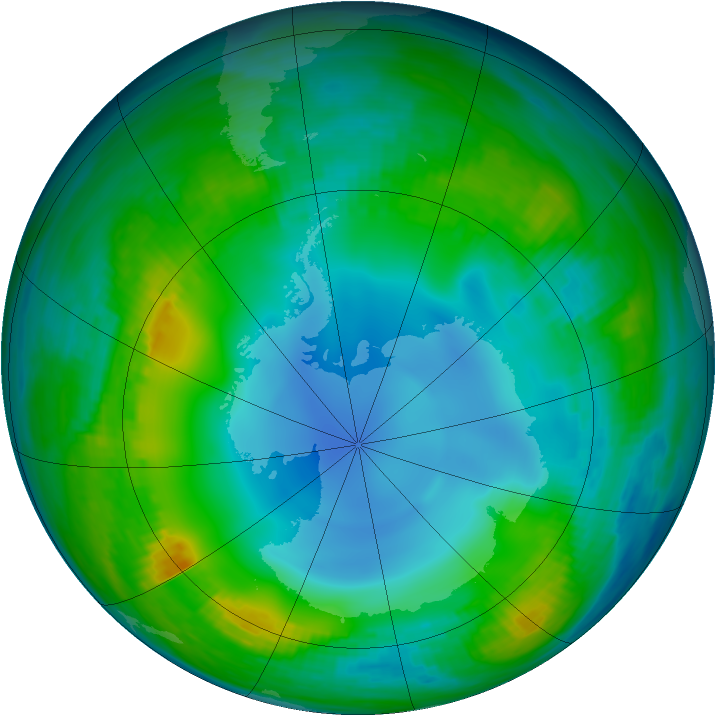 Antarctic ozone map for 25 May 1983