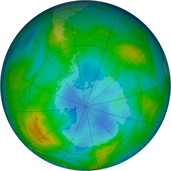 Antarctic ozone map for 27 May 1983