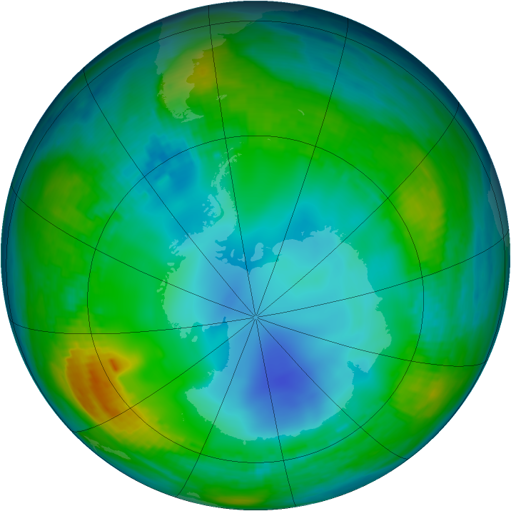 Antarctic ozone map for 28 May 1983