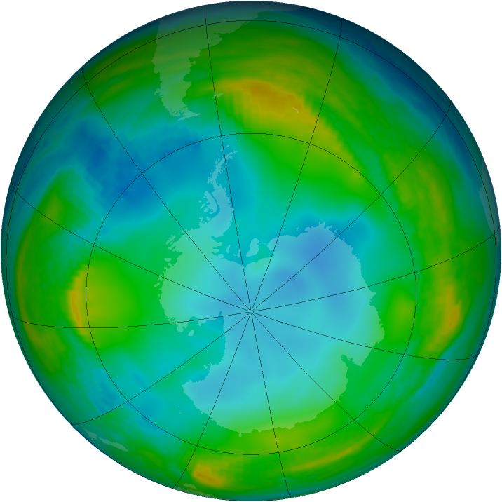 Antarctic ozone map for 10 June 1983
