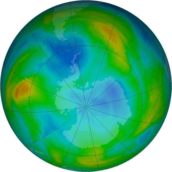 Antarctic ozone map for 11 June 1983