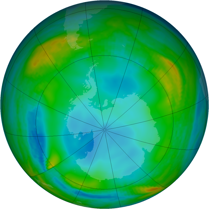 Antarctic ozone map for 16 June 1983