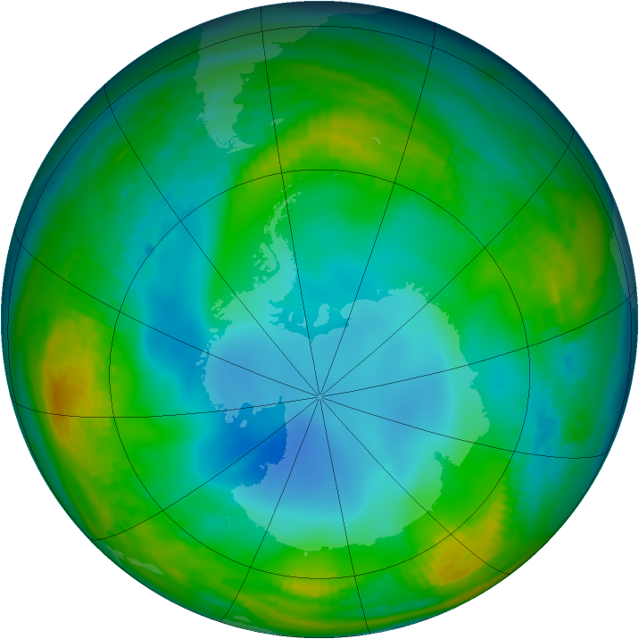 Antarctic ozone map for 24 June 1983