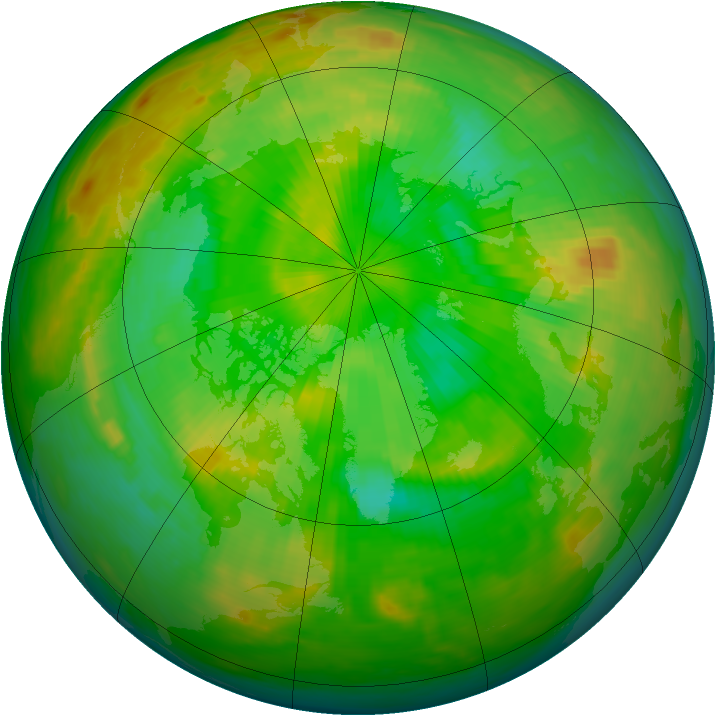 Arctic ozone map for 25 June 1983