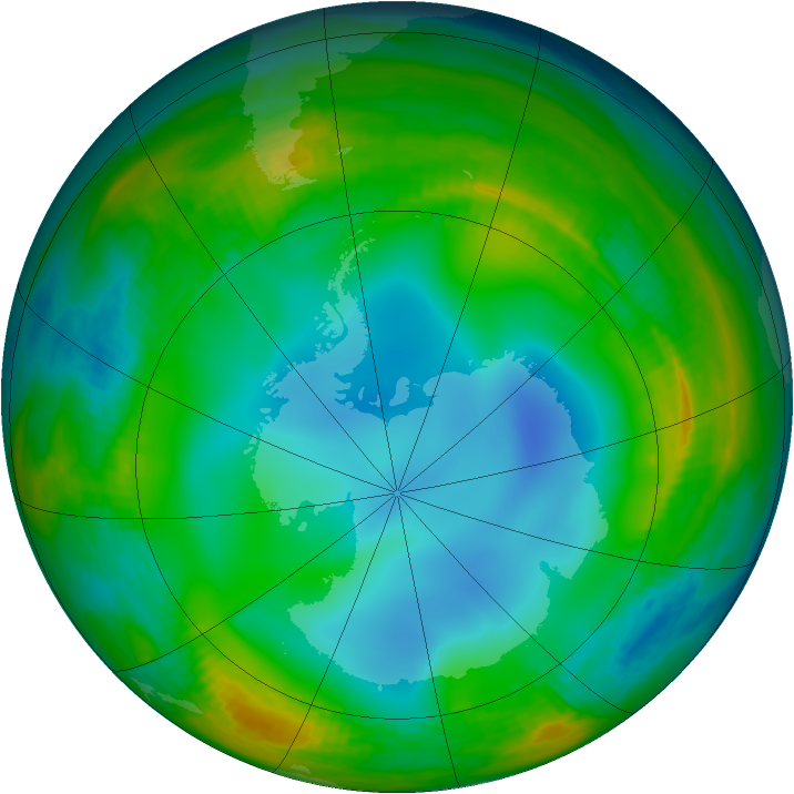 Antarctic ozone map for 27 June 1983