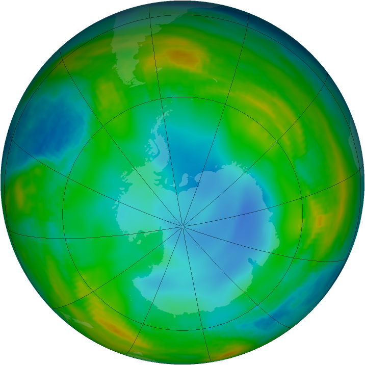 Antarctic ozone map for 28 June 1983