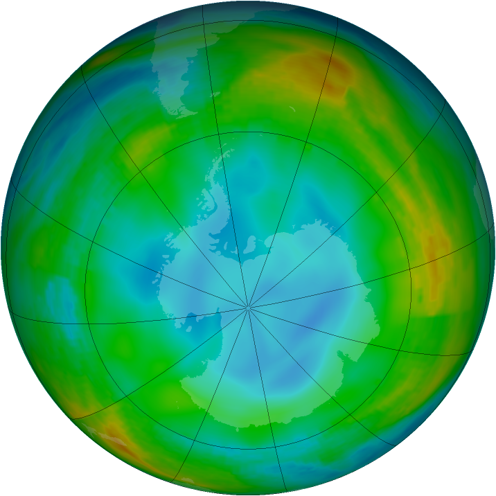 Antarctic ozone map for 30 June 1983