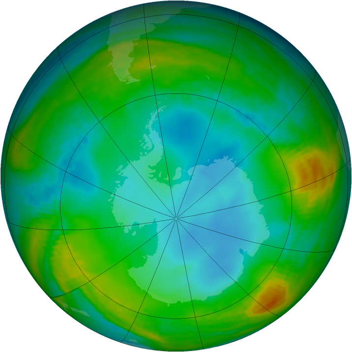 Antarctic ozone map for 05 July 1983