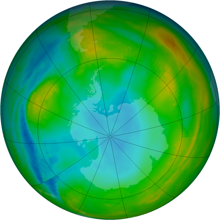 Antarctic ozone map for 14 July 1983