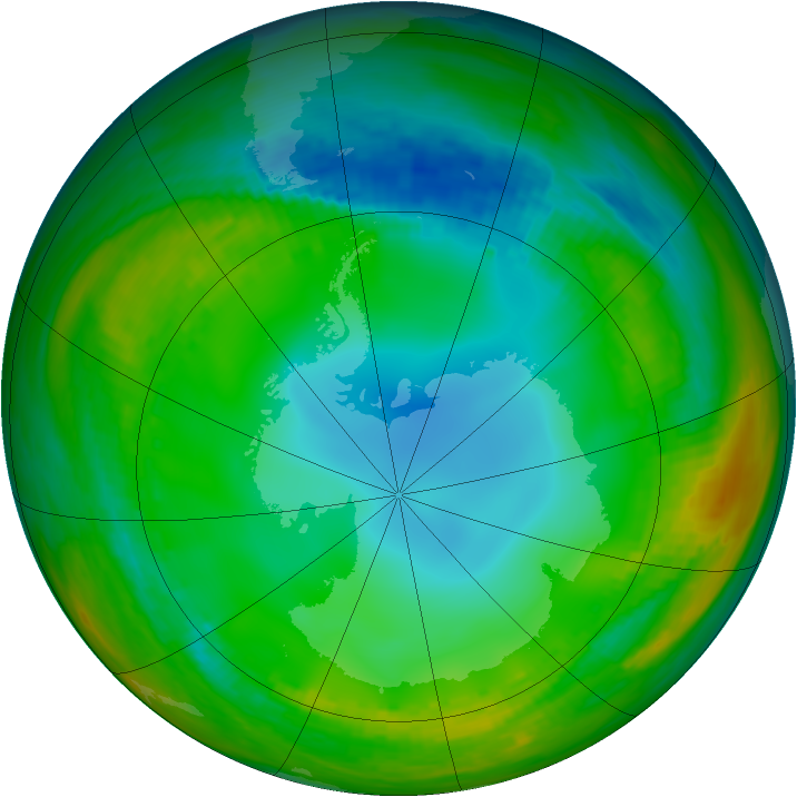 Antarctic ozone map for 17 July 1983