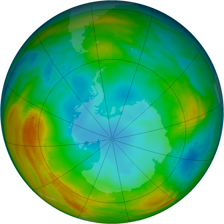 Antarctic ozone map for 22 July 1983