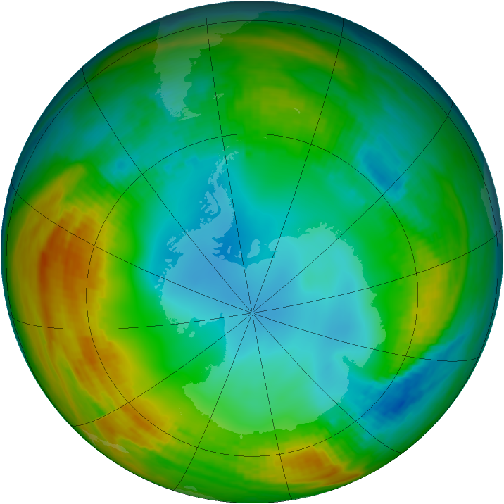 Antarctic ozone map for 23 July 1983