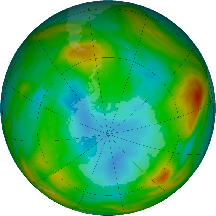 Antarctic ozone map for 05 August 1983