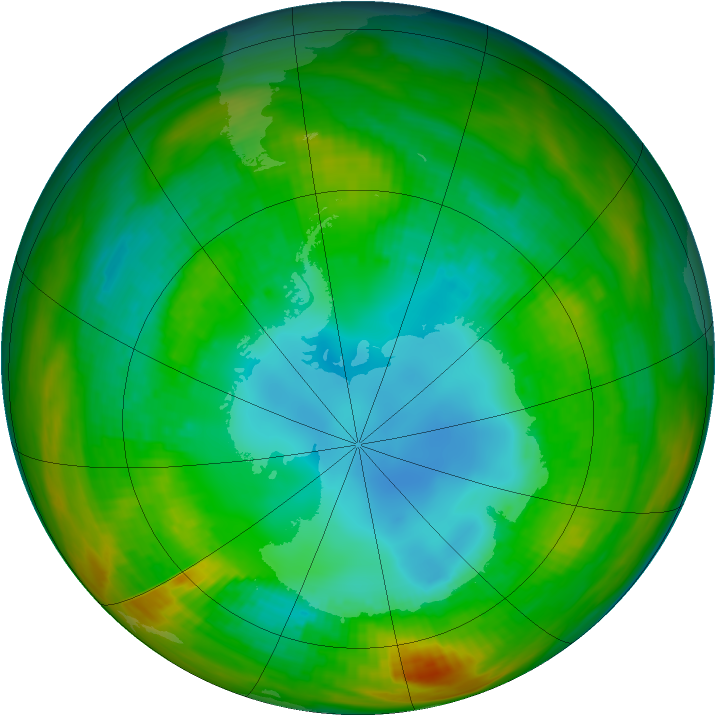 Antarctic ozone map for 13 August 1983