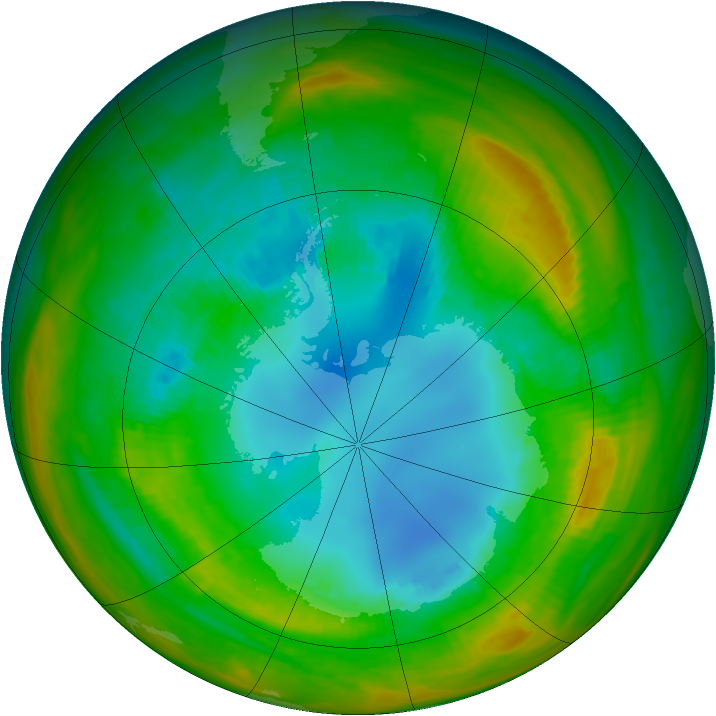Antarctic ozone map for 18 August 1983