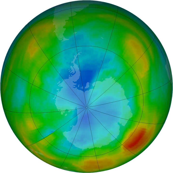 Antarctic ozone map for 24 August 1983